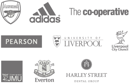 Arsenal FC, adidas, The Co-operative, Pearson, University of Liverpool, Liverpool City Council, Liverpool JMU, Everton FC, Harley Street Dental Group